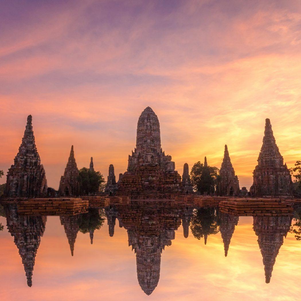 Wat Chai Watthanaram reflection Ayutthaya at Twlight Thailand